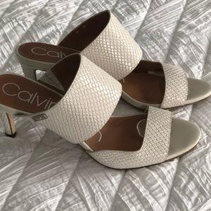 Calvin Klein Snakeskin Lite Bone Sandal